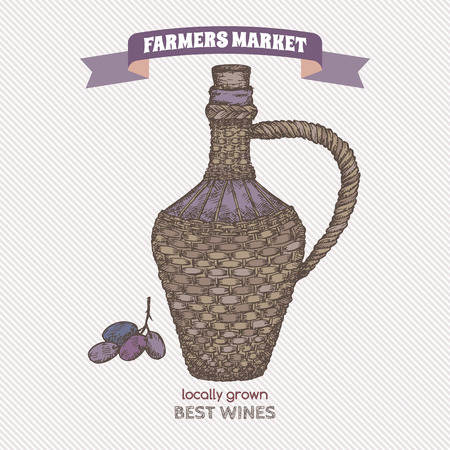 woven label: Color farmers market label with wine bottle in wicker case. Hand drawn sketch. Great for markets, grocery stores, organic shops, food label design.