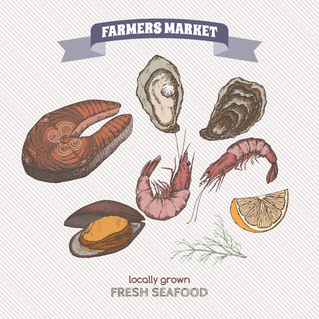 fish steak: Color farmers market label with fish steak, oyster and mytilus template. Great for markets, grocery stores, organic shops, food label design. Illustration