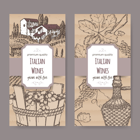 Set of 2 elegant Italian wine label templates with farmhouse, vineyard, wine bottle and grapes in wooden bucket. Placed on cardboard background. Great for wineries, grocery stores, wine label design. Vector Illustration