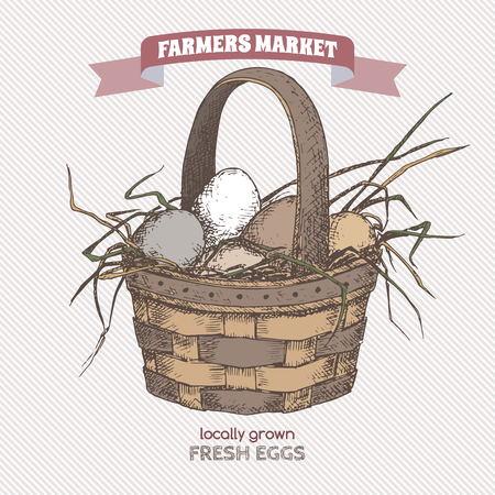 grocery basket: Color farmers market label with egg basket. Includes hand drawn elements. Great for markets, grocery stores, organic shops, food label design.