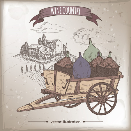 wine country: Wine country template with Italian landscape and vintage cart with wine bottles. Hand drawn sketch. Great for markets, grocery stores, organic shops, food label design. Illustration