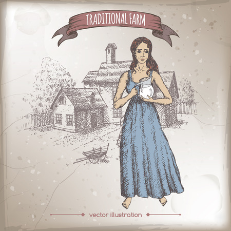french countryside: Milkmaid holding milk pitcher and traditional farm house hand drawn vector color sketch. Great for farmer product and travel ads, brochures, labels. Illustration