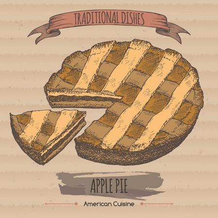 apple pie: Color apple pie sketch placed on cardboard background. American cuisine. Traditional dishes series. Great for market, restaurant, cafe, food label design.