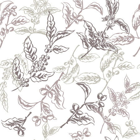great coffee: Seamless pattern based on ink painted coffee branches with beans and flowers. Great for cafe, bars, coffee ads, wallpaper, wrapping paper. Illustration