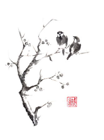 Tow birds on a tree Japanese style original sumi-e ink painting. Hieroglyph featured means sincerity. Great for greeting cards or texture design.