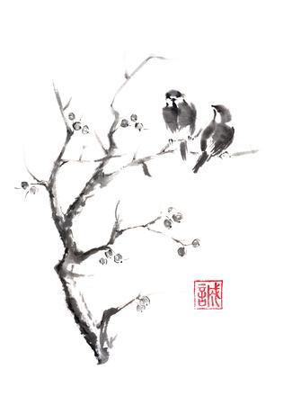 Slepen vogels op een boom Japanse stijl originele sumi-e inkt schilderij. Hiëroglief gekenmerkt middelen oprechtheid. Geweldig voor wenskaarten of textuur ontwerp.
