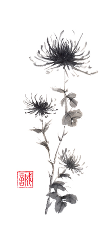 spiritual growth: Spider chrysanthemums Japanese style original sumi-e ink painting. Hieroglyph featured means sincerity. Great for greeting cards or texture design. Stock Photo