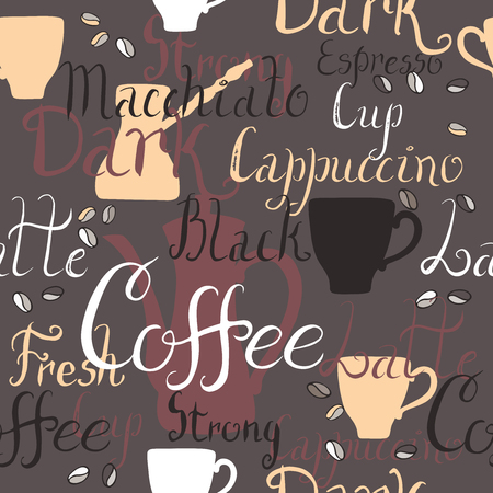 great coffee: Seamless pattern with coffee pots and cups and ink painted coffee related words. Brush lettering text. Great for cafe, bars, tea ads, wallpaper, wrapping paper.