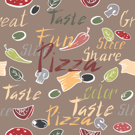 toppings: Seamless pattern with ink painted pizza related hand painted words and pizza toppings. Brush lettering text. Great for restaurant, cafe, bars, tea ads, wallpaper, wrapping paper.