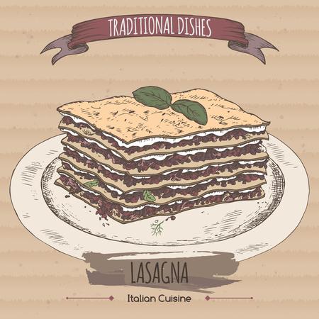 lasagna: Color lasagna sketch placed on cardboard background. Italian cuisine. Traditional dishes series. Great for market, restaurant, cafe, food label design.