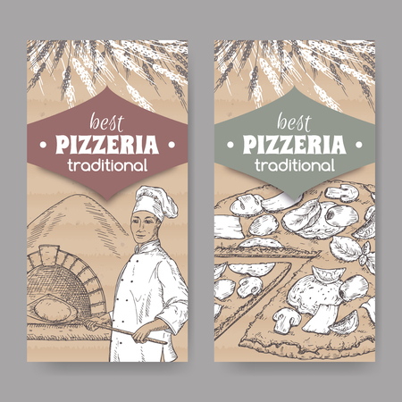 pizzeria label: Set of 2 pizzeria label templates with baker, oven and pizza on cardboard texture. Great for pizzeria, bakery and restaurant, cafe ads, brochures, labels. Illustration