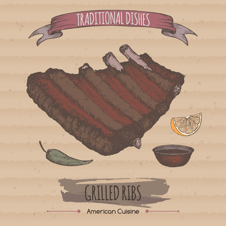 american cuisine: Color grilled ribs sketch placed on cardboard background. American cuisine. Traditional dishes series. Great for market, restaurant, cafe, food label design. Illustration