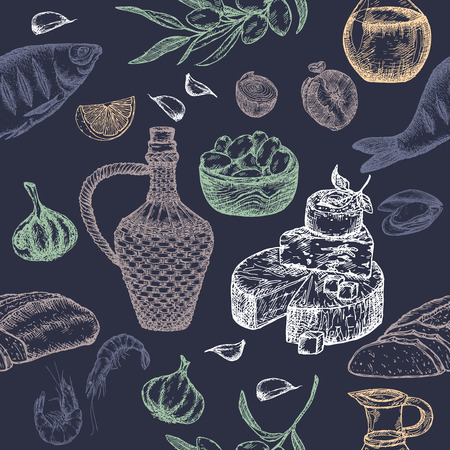 bread and wine: Mediterranean cuisine seamless pattern on blue. Includes hand drawn sketch of bread, wine, cheese, olives, seafood and spices. Great for restaurants, cafes, recipe and travel books.