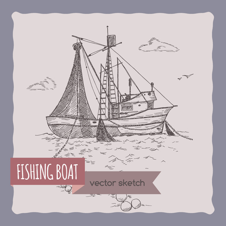 fishing village: Fishing boat with nets sketch. Great for travel ads and brochures, fishing and seafood illustrations.