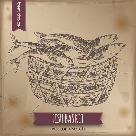 Vintage fish basket sketch placed on old paper background. Great for markets, grocery stores, organic shops, fishing and food label design.