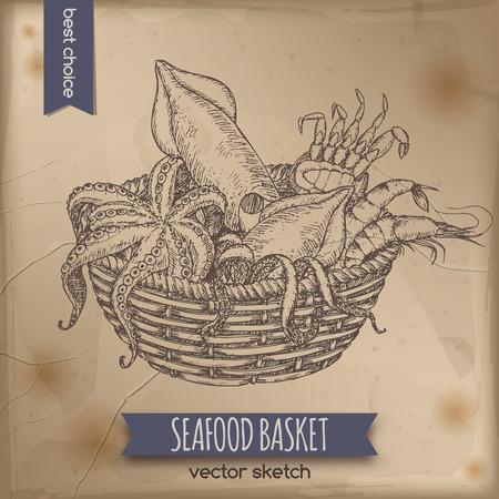 calamares: bosquejo cesta de marisco de la vendimia con el pulpo, cangrejo, camarón y calamar colocados en el fondo de papel viejo. Grande para los mercados, supermercados, tiendas de productos ecológicos, la pesca y el diseño de etiquetas de los alimentos. Vectores