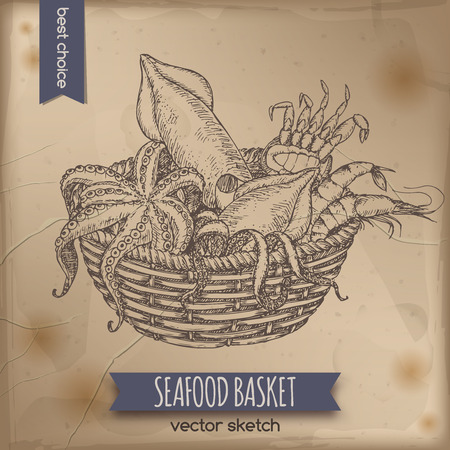Vintage seafood basket sketch with octopus, crab, shrimp and squid placed on old paper background. Great for markets, grocery stores, organic shops, fishing and food label design.