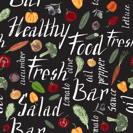 word: Seamless pattern with hand painted vegetables and salad related words on black background. Great for agriculture, restaurant, cafe, grocery, food ads, texture design. Illustration