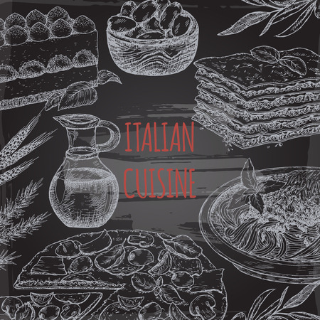 spaghetti bolognese: Italian cuisine template on blackboard bavkground. Includes hand drawn sketch of pizza, lasagna, tiramisu, pasta, olives and spices. Great for restaurants, cafes, recipe and travel books. Illustration