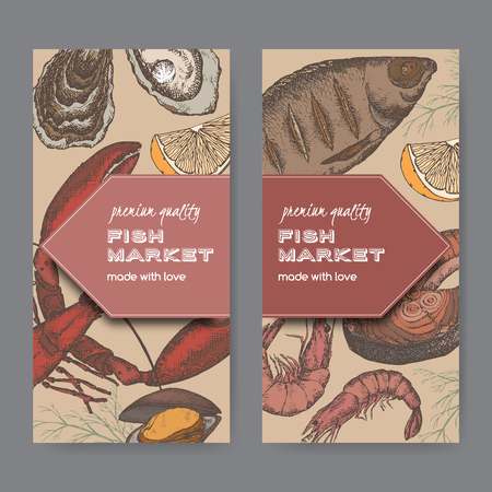 shrimp cocktail: Set of 2 fish market color label templates with fish, lobster and seafood. Includes hand drawn elements. Illustration