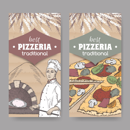 pizzeria label: Set of 2 color pizzeria label templates with baker, oven and pizza on cardboard texture. Great for pizzeria, bakery and restaurant, cafe ads, brochures, labels.