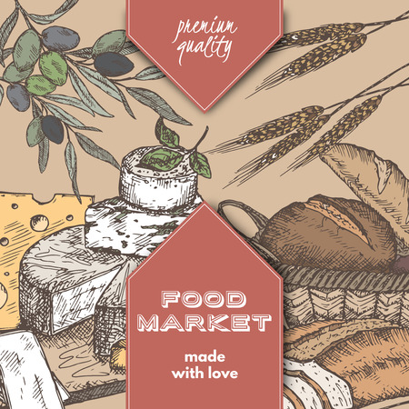 bread basket: Color food market label template with hand drawn sketch of bread basket, cheese plate, wheat and olive branch. Great for store and packaging design.
