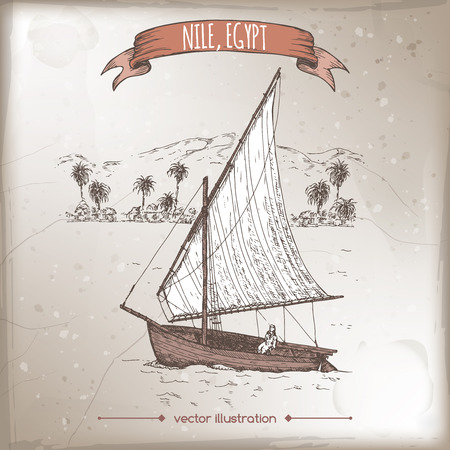 nile river: Vintage travel illustration with felucca, traditional Egyptian sailing boat. Hand drawn vector sketch. Great for farmer product and travel ads, brochures, labels.
