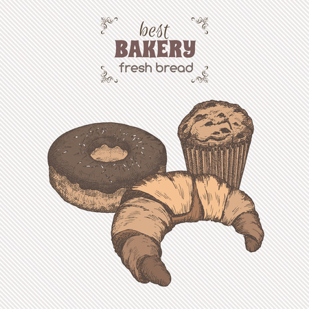 Color vintage bakery template with muffin, croissant and doughnut. Great for market, restaurant, cafe, food label design.