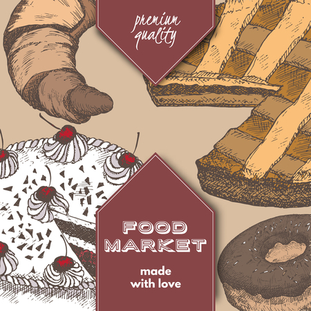 apple pie: Color food market label template with hand drawn sketch of apple pie, black forest cake, doughnut and croissant. Great for store and packaging design.