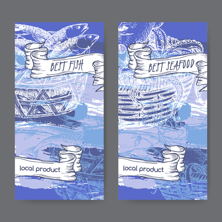 blue fish: Set of two labels with, fish and seafood baskets on hand painted blue background. Great for markets, fishing, fish processing, canned fish, seafood product label design. Illustration