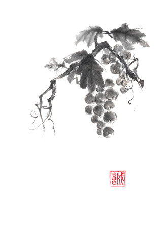 rice wine: Bunch of grapes Japanese style original sumi-e ink painting. Hieroglyph featured means sincerity. Great for greeting cards or texture design. Stock Photo