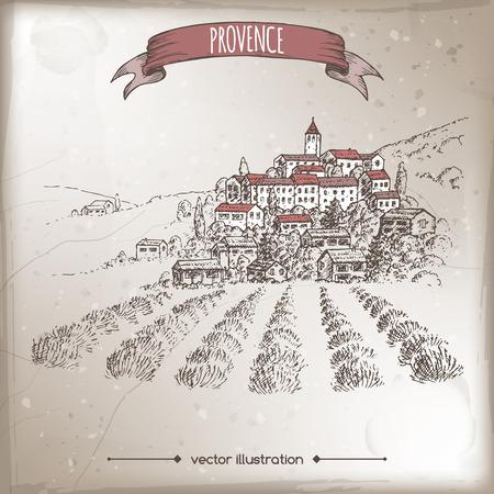 プロヴァンスの町、ラベンダー畑、丘の景色でヴィンテージ旅行イラスト。手描きの背景のスケッチ。農家の製品や旅行の広告、パンフレット、ラ