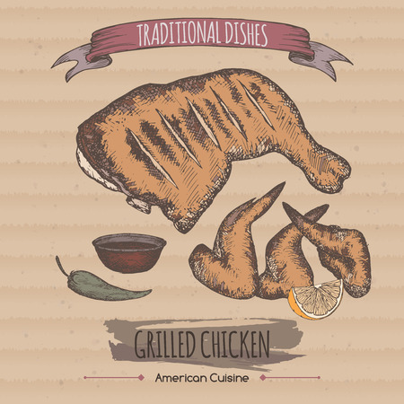 american cuisine: Color vintage grilled chicken template placed on cardboard background. American cuisine. Traditional dishes series. Great for market, restaurant, grill cafe, food label design.