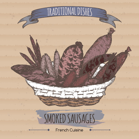 Color vintage smoked sausages sketch placed on cardboard background. French cuisine. Traditional dishes series. Great for meat stalls, grocery stores, organic shops, food label design. Векторная Иллюстрация