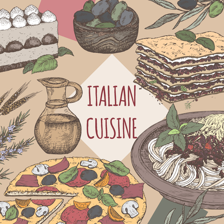 lasagna: Color Italian cuisine template. Includes hand drawn sketch of pizza, lasagna, tiramisu, pasta, olives and spices. Great for restaurants, cafes, recipe and travel books.