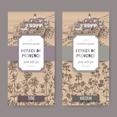 herbes: Two Herbes de Provence labels with Provence town landscape, thyme and marjoram sketch. Culinary herbs collection. Great for cooking, medical, gardening design.