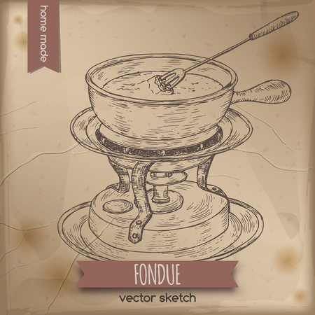 fondue: Vintage fondue chafing stand vector sketch placed on old paper background. Great for restaurant, cafe, menu, recipe books, food label design.