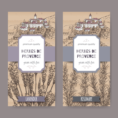 herbes: Two Herbes de Provence labels with Provence town landscape, lavender and rosemary sketch. Culinary herbs collection. Great for cooking, medical, gardening design.