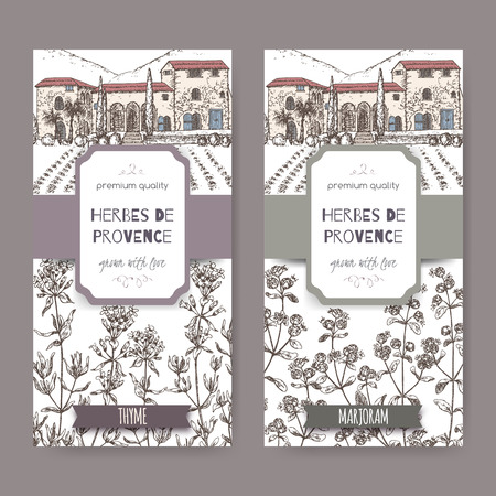 aroma: Two Herbes de Provence labels with Provence mansion landscape, thyme and marjoram sketch on white. Culinary herbs collection. Great for cooking, medical, gardening design.