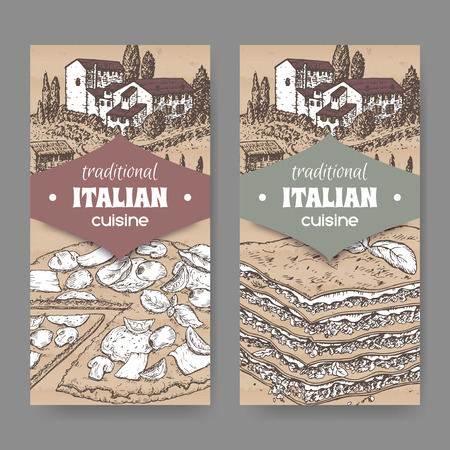 lasagna: Set of 2 traditional Italian cuisine labels with pizza and lasagna on cardboard texture. Great for pizzeria, bakery and restaurant, cafe ads, brochures, labels.