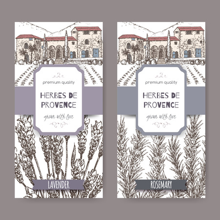 mansion: Two Herbes de Provence labels with Provence mansion landscape, lavender and rosemary sketch on white. Culinary herbs collection. Great for cooking, medical, gardening design. Illustration