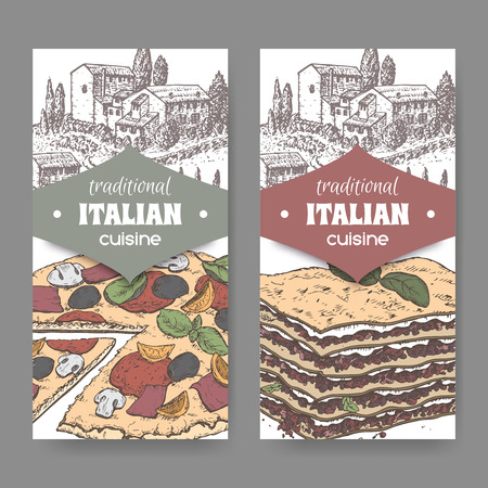 tuscan: Set of 2 traditional Italian cuisine labels with Tuscan landscape, color pizza and lasagna on white. Great for pizzeria, bakery and restaurant, cafe ads, brochures, labels.