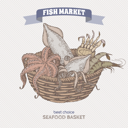 grocery basket: Color vintage seafood basket sketch with octopus, crab, shrimp and squid. Fish market series. Great for markets, grocery stores, organic shops, fishing and food label design.
