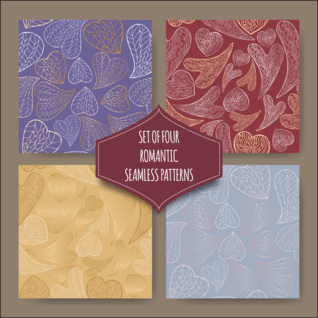 four texture: Set of four seamless patterns with hand drawn romantic heart pattern. Great for wedding and romantic cards, wallpaper, texture design.