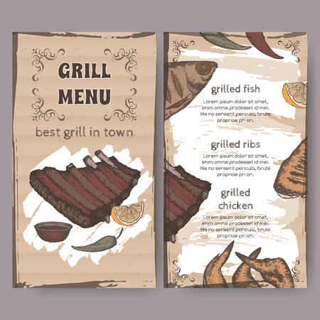 ribs: Vintage grill restaurant menu template with hand drawn color sketch of grilled fish, ribs, chicken legs and wings. Placed on cardboard background. Great for grill cafes and restaurants. Illustration