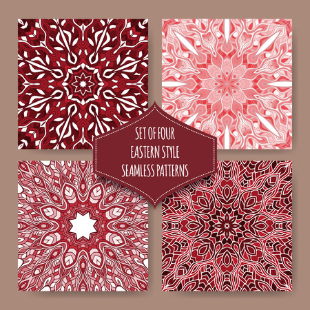 four texture: Set of four red ethnic eastern style seamless patterns based on hand drawn sketch. Vector background. Indian, Arabic, Islam motifs. Great for wallpaper, texture design. Illustration