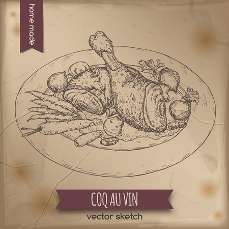 french cuisine: Vintage coq au vin aka chicken in wine vector sketch placed on old paper background. French cuisine. Great for restaurant, cafe, menu, recipe books, food label design. Illustration