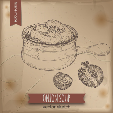 french cuisine: Vintage onion soup vector sketch placed on old paper background. French cuisine. Great for restaurant, cafe, menu, recipe books, food label design.