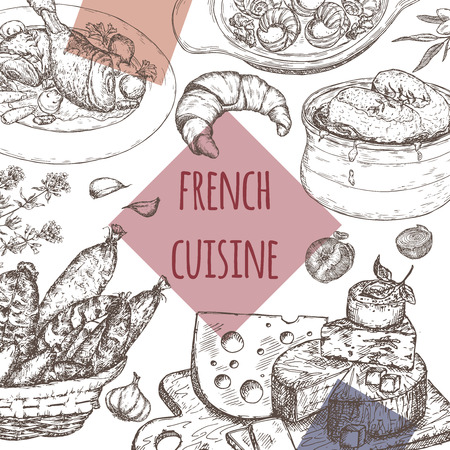 french cuisine: French cuisine template. Includes hand drawn sketch of onion soup, coq au vin, croissant, cheese plate, sausages, escargots, olives and spices. Great for restaurants, cafes, recipe and travel books.