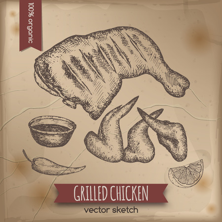 deli meat: Vintage grilled chicken template placed on old paper background. Great for market, restaurant, grill cafe, food label design.